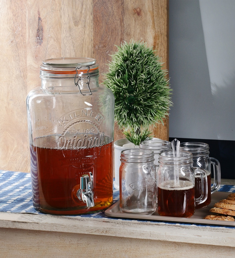 Kilner Cliptop Glass 5000 ML Drink Dispenser with Kilner Handle Jars - Set of 5