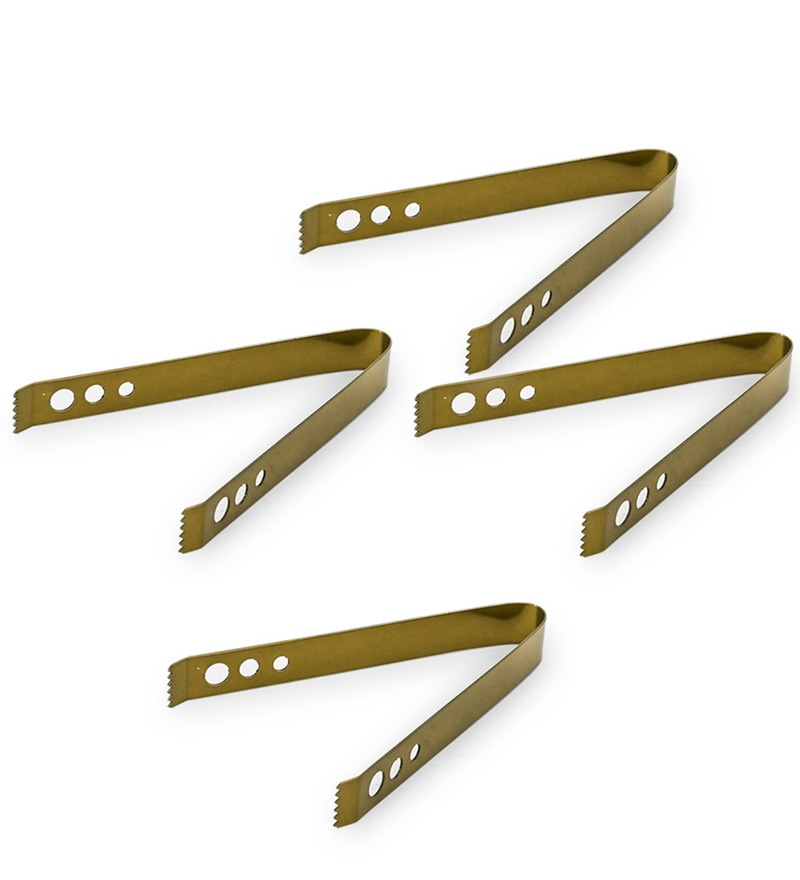 King International Stainless Steel Golden Ice Tong - Set of 4