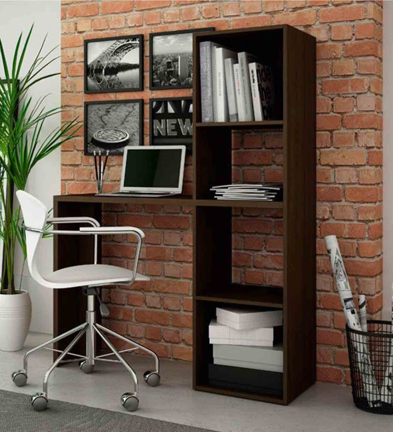 Kishi Study Desk with Book Shelf in Tobacco Finish by Mintwud