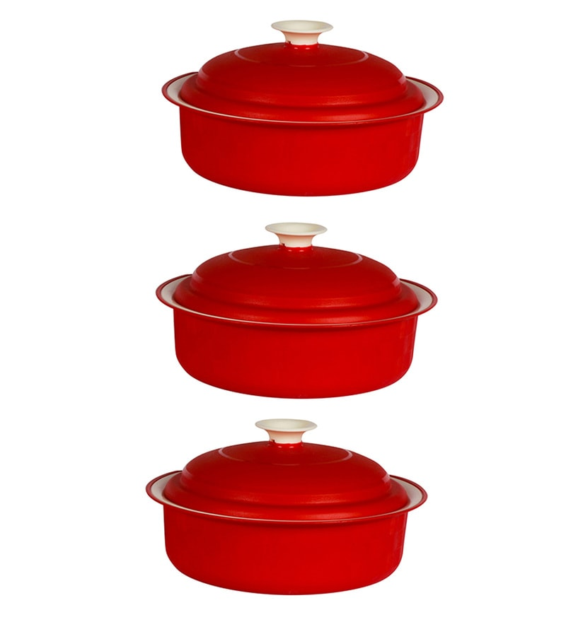 Kitchen Duniya Carnation Microwave Safe Blossom Red Polypropylene 1.8 L Vintage Casseroles - Set of 3