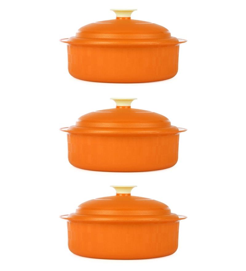 Kitchen Duniya Carnation Microwave Safe Candy Orange Polypropylene 1.8 L Vintage Casseroles - Set of 3