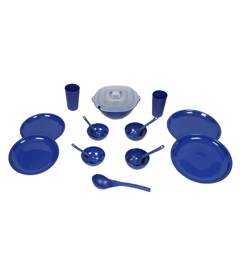 Kitchen Duniya Round Electric Blue Polypropylene Microwave Safe Dinner Set - Set of 16