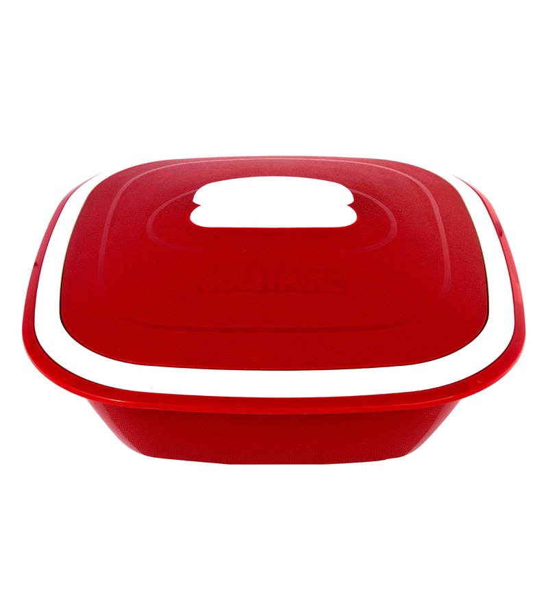 Kitchen Duniya Solitaire Microwave Safe Blossom Red Polypropylene 1.25 L Double Walled Casserole