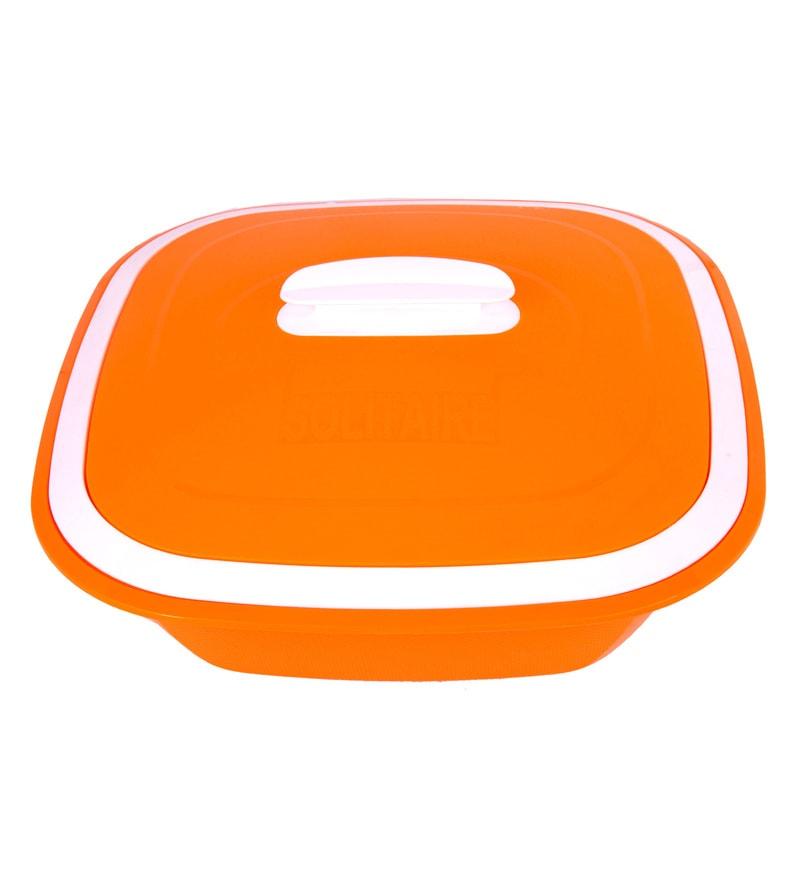 Kitchen Duniya Solitaire Microwave Safe Candy Orange Polypropylene 3 L Double Walled Casserole