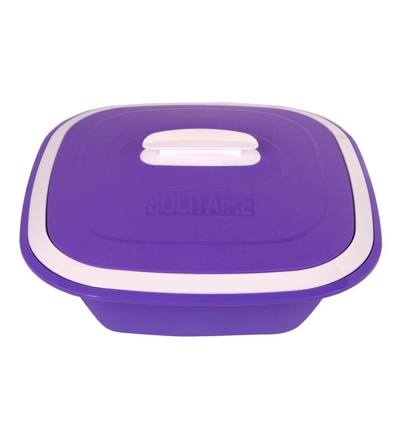 Kitchen Duniya Solitaire Microwave Safe Purple Passion Polypropylene 1.25 L Double Walled Casserole