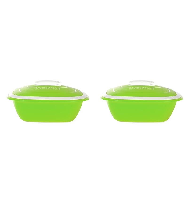 Kitchen Duniya Solitaire Microwave Safe Trendy Green Polypropylene 1.25 L Double Walled Casseroles - Set of 2