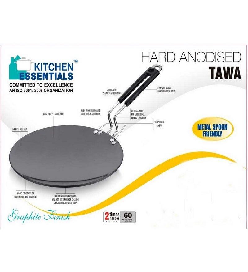Roti Tawa Hard Anodised 10 Inch 4Mm Ss Wire Bakelite by Kitchen Essentials