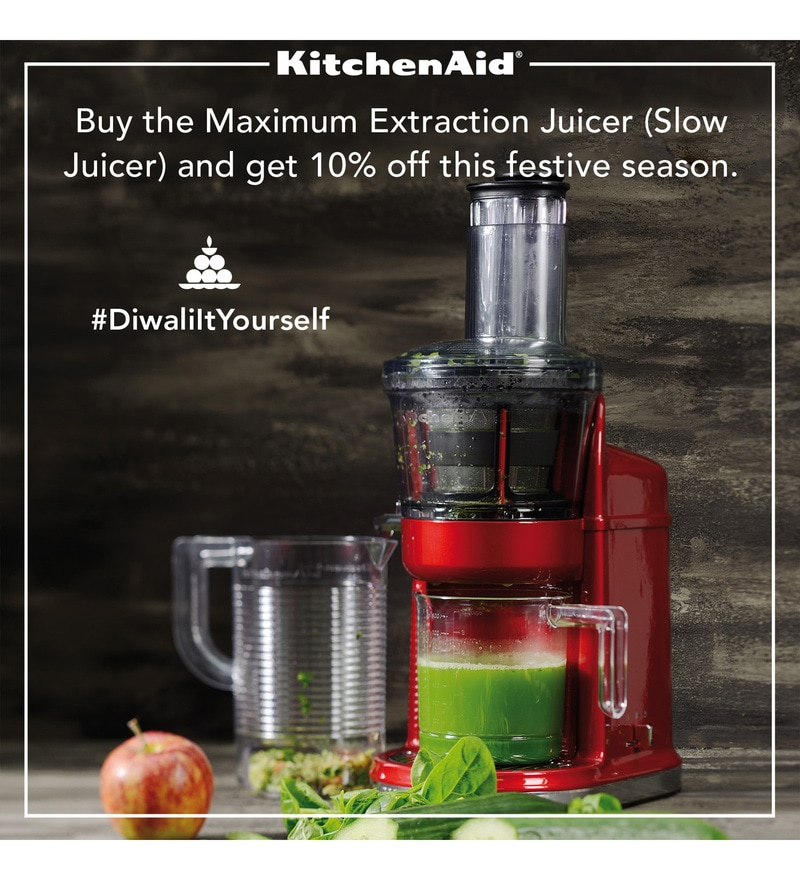 Prestige Slow Juicer With Salad Maker : Buy KitchenAid Maximum Extraction Slow Juicer in Candy Apple (5KvJ0111BCA) Online - Slow Juicers ...