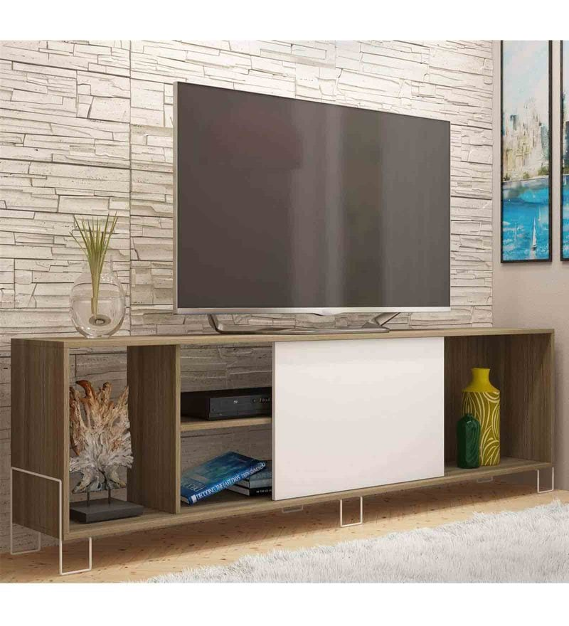 Kiwako Entertainment Unit in White & Oak Finish by Mintwud