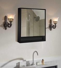 Black Engineered Wooden & Glass 19.7 X 5.9 X 23.6 Inch Double Door Mirror Cabinet
