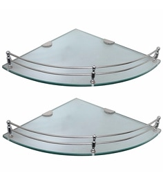 Klaxon Silver Gl Corner Shelves Set Of 2