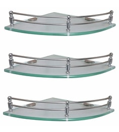 Klaxon Silver Glass Corner Shelves - Set Of 3