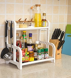 Klaxon White 2 Tier Multi Functional Kitchen Rack