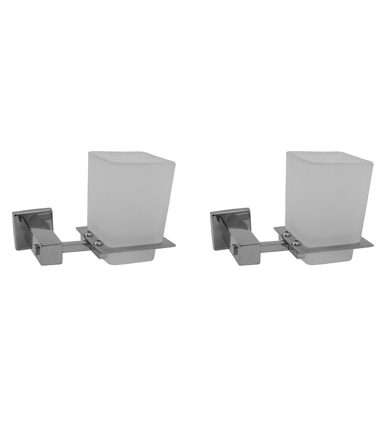 Klaxon Kristal Silver Stainless Steel 6 x 4 x 4 Inch Toothbrush Holder - Set of 2