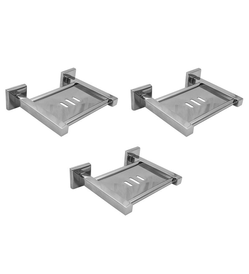 Klaxon Kristal Silver Stainless Steel 7 x 5 x 2 Inch Soap Case - Set of 3