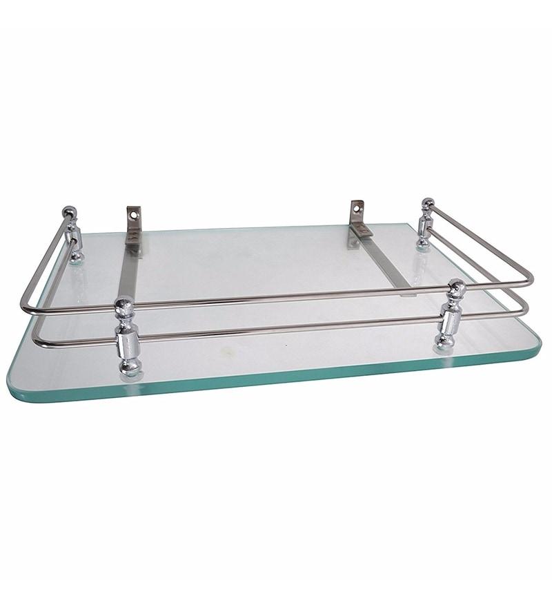 Buy Klaxon White Glass Set Top Box Stand Bathroom Shelf
