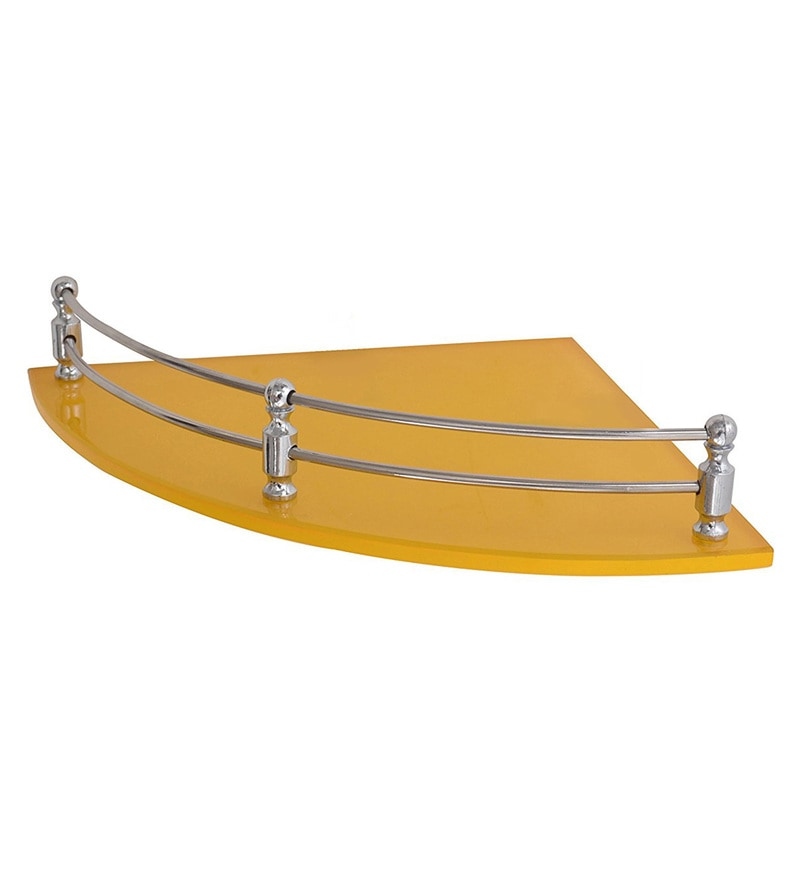 Klaxon Yellow Glass 9 x 9 Inch Bathroom Corner Wall Shelf