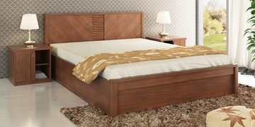 Kosmo Romana Queen Size Bed With Box Storage In Rigato Walnut Finish