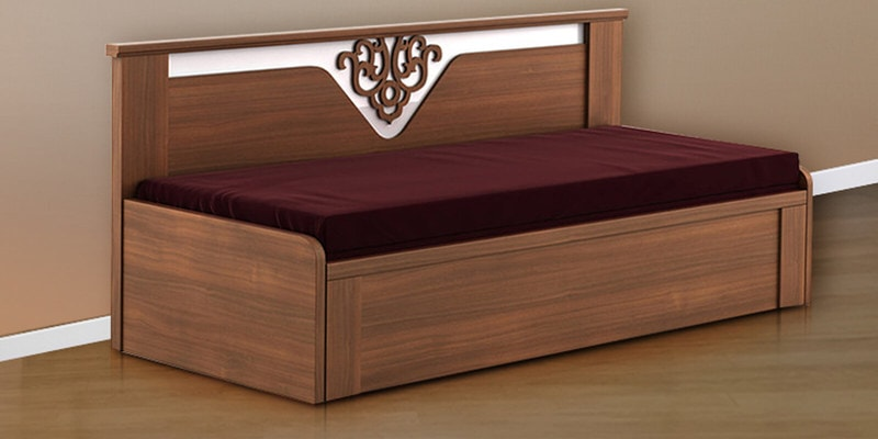 Kosmo Ornate Sofa Cum Bed with Storage in Walnut Finish by Spacewood