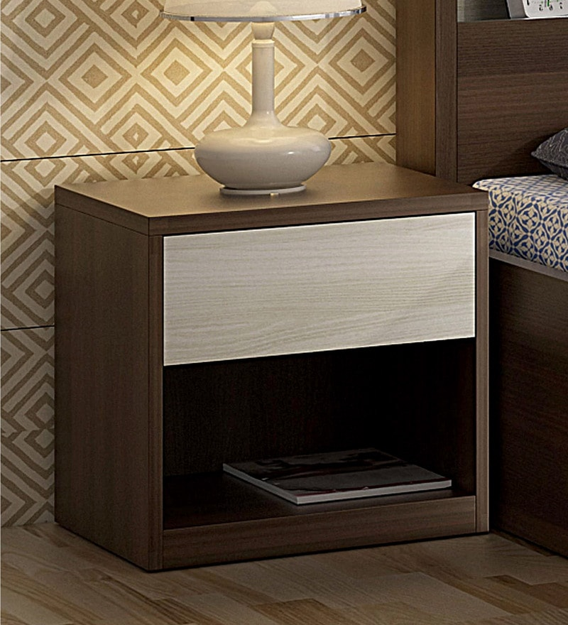 Kosmo Ambry Bed Side Table in Moldau Acacia Brown and White Finish by Spacewood