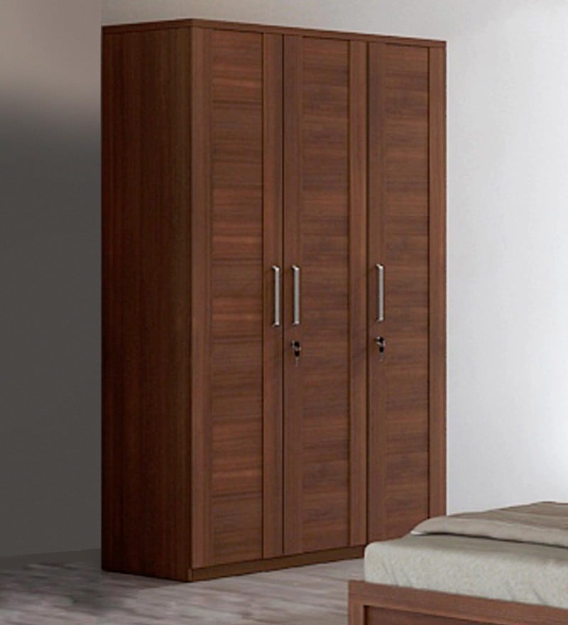 Kosmo Grace Three Door Wardrobe in Rigato Walnut Finish by Spacewood