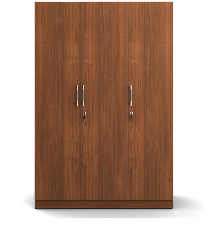 Buy Kosmo Optima Three Door Wardrobe In Walnut Finish By
