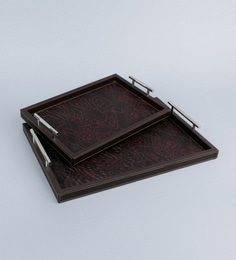 Kraftsmen Hand Crafted Brown PU Tray With Nickel Handle - Set Of 2