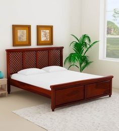 Krisa Solid Wood King Size Bed In Honey Oak Finish ...