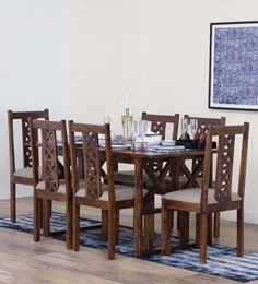 Kryss Six Seater Dining Set In Provincial Teak Finish