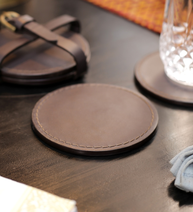 Kraftsmen Designer Brown PU Coaster - Set of 6
