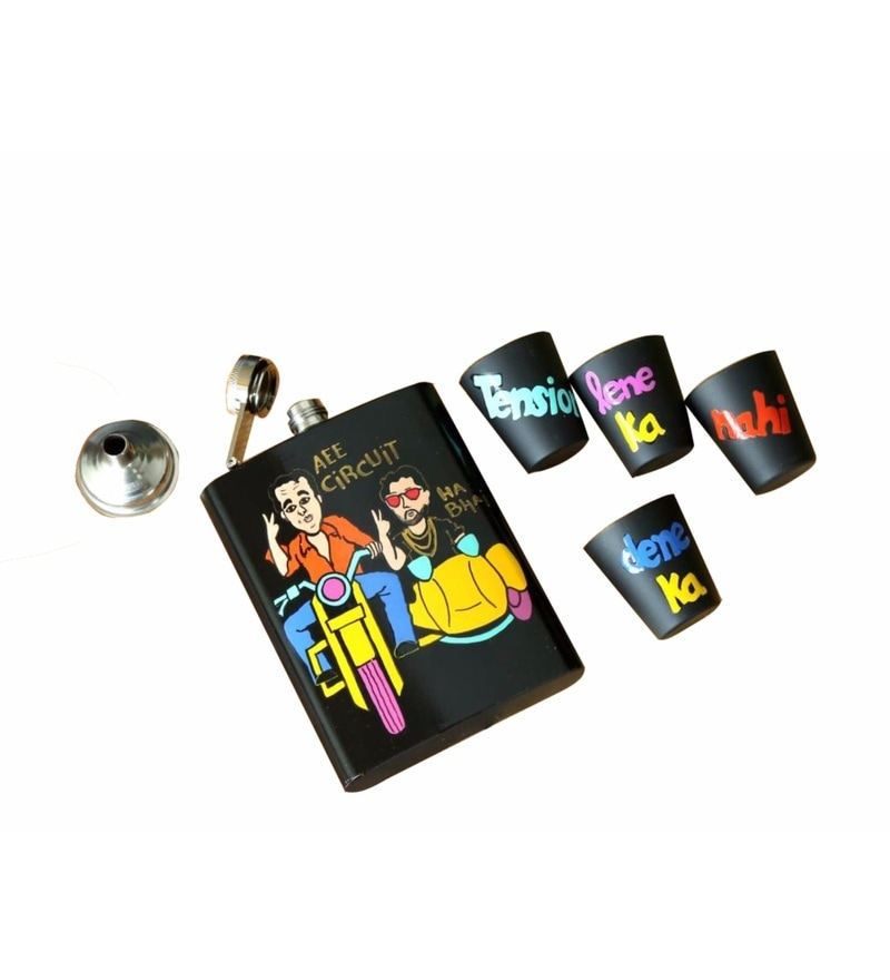 Krazy Mug Munna Bhai Hip Flask with 4 Shot Glasses