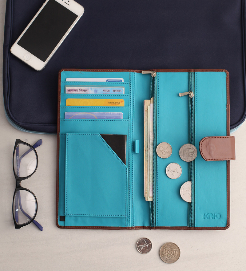 KRIO Designs PU Leather Brown & Blue Clipped Passport Holder Case