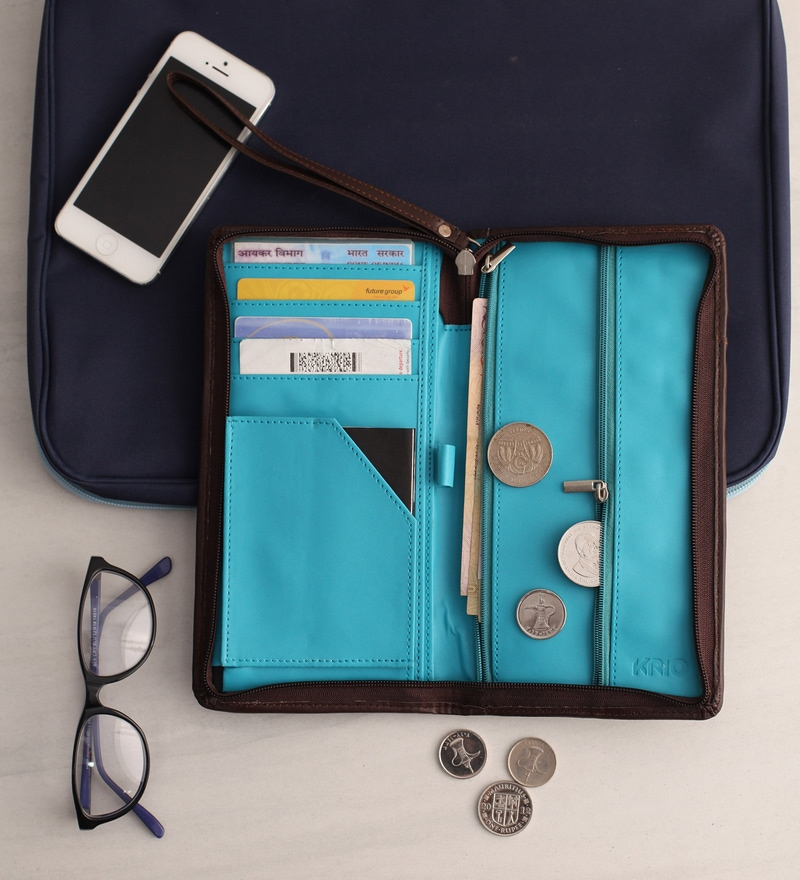 KRIO Designs PU Leather Brown & Blue Zippered Passport Holder Case
