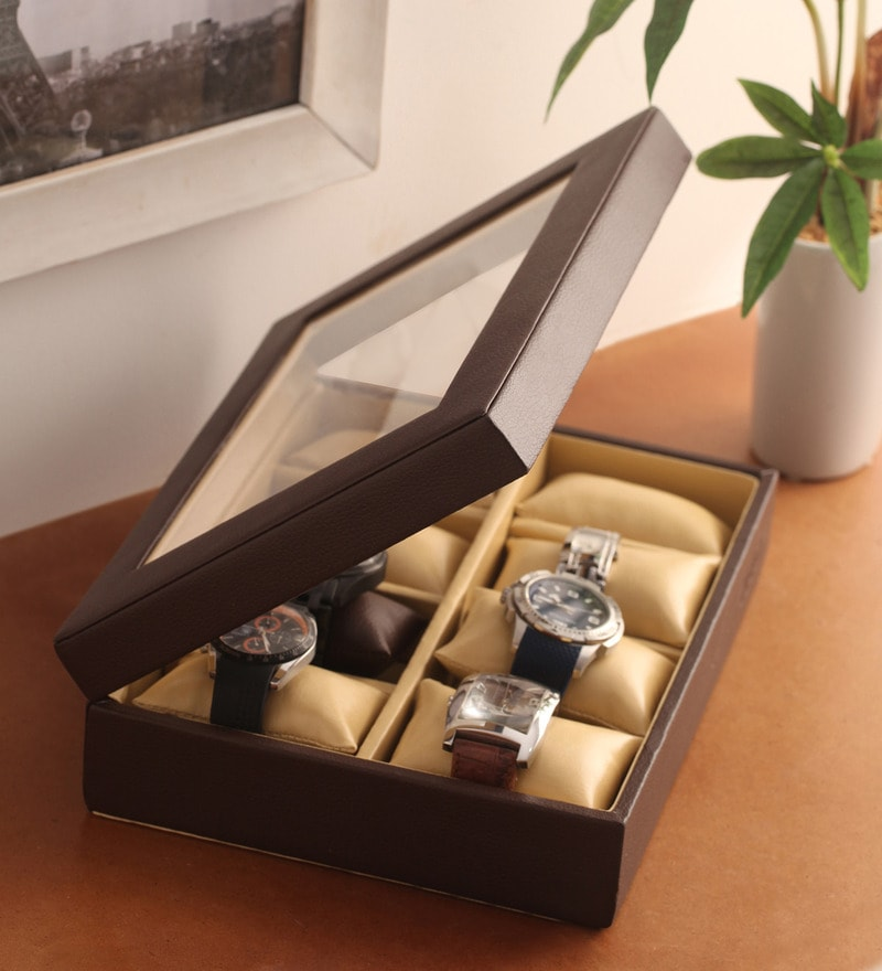 Pu Leather Brown 8-Case Magnetic Watch Box by KRIO Designs