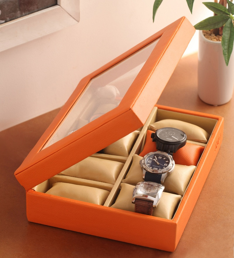 Pu Leather Orange 8-Case Magnetic Watch Box by KRIO Designs