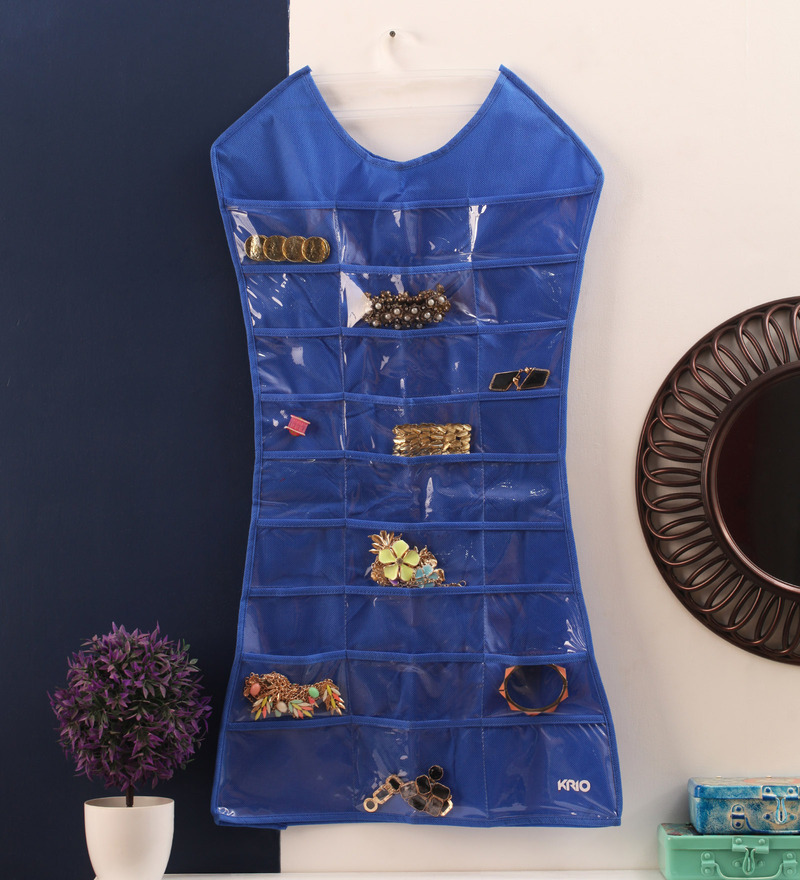Royal Blue Mesh 12.6 x 6.3 Inch Dress-Shaped Jewellery Organizer by KRIO Designs