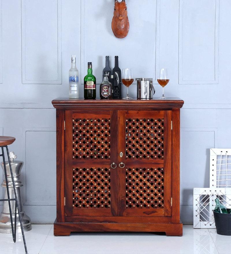 Krisa Bar Cabinet in Honey Oak Finish by Mudramark