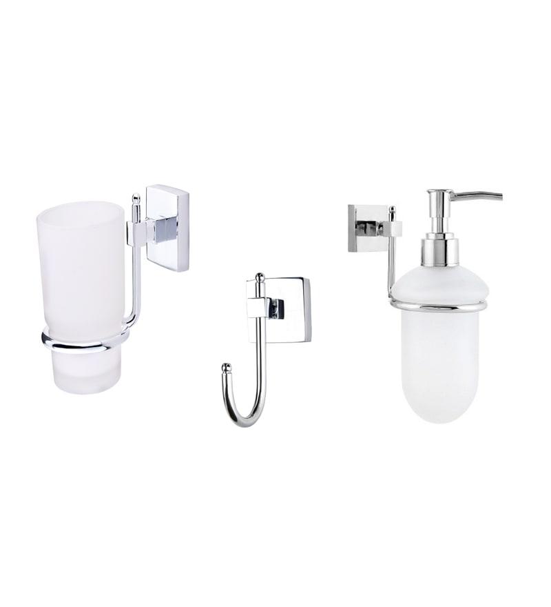 KRM Decor Solitaire Brass & Glass Bathroom Fixture Set - Set of 3