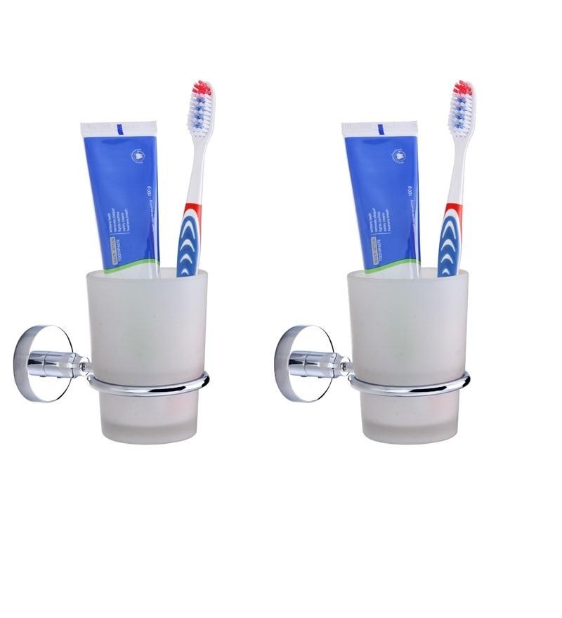 KRM Decor Moonstone Brass & Glass Toothbrush Holder - Set of 2