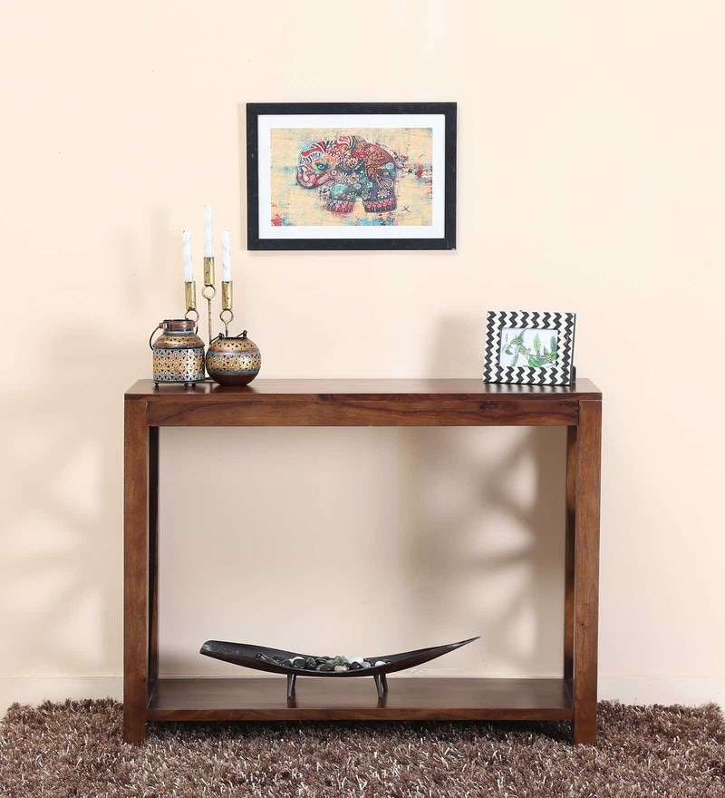 Kryss Console Table in Provincial Teak Finish by Woodsworth