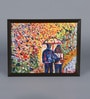 Canvas & Acrylic 10.5 x 1.5 x 8.5 Inch Couple with Umbrella Original Framed Painting by Krish Art