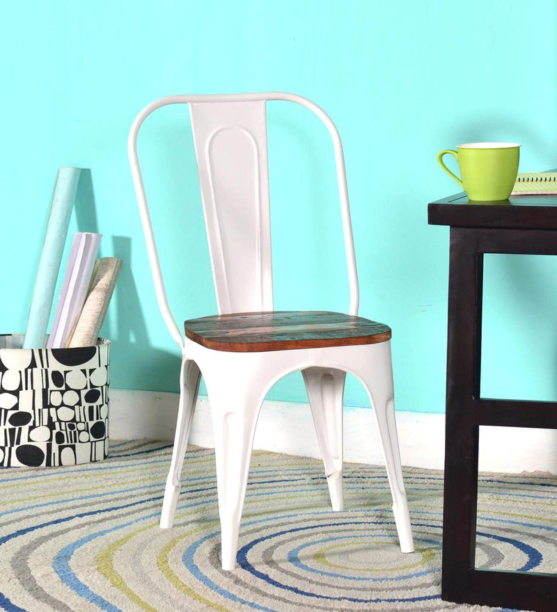 Kumtor Metal Chair in Distress White Color with Wooden Seat by Bohemiana