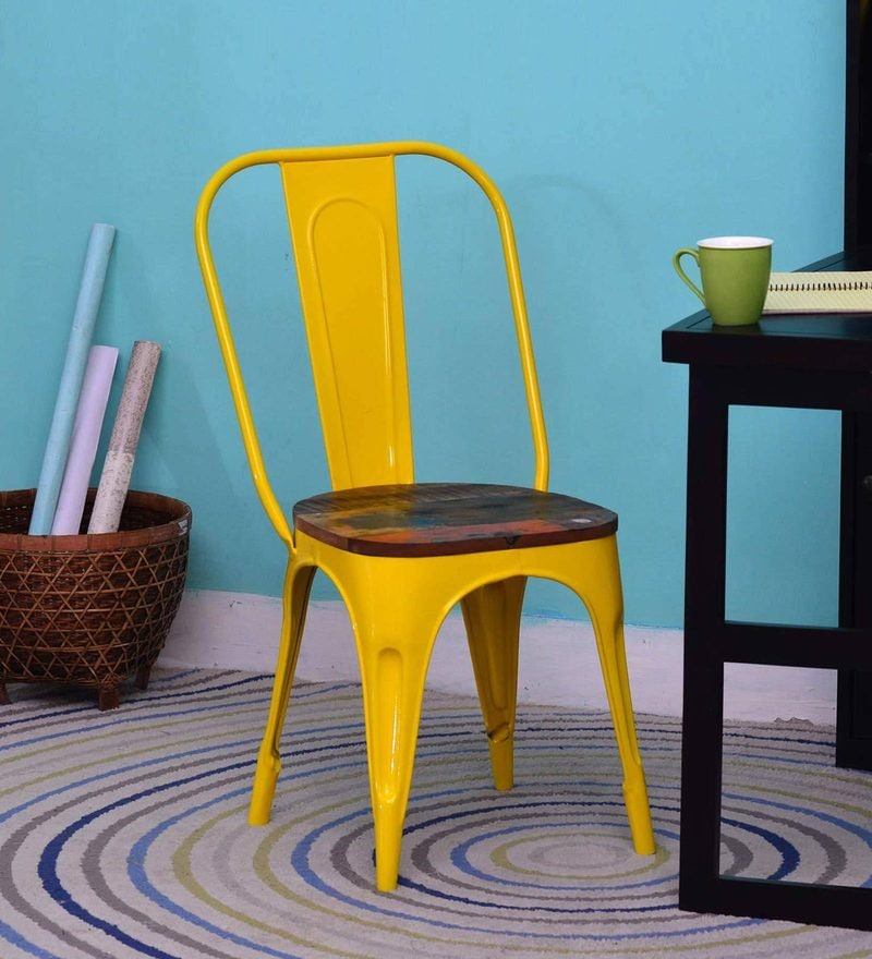 Kumtor Metal Chair in Distress Yellow Color with Wooden Seat by Bohemiana