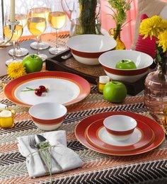 La Opala Diva Sovrana Ameerah Red Opal Ware Dinner Set - Set of 33 at pepperfry
