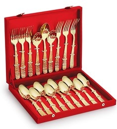 Lacuzini Stainless Steel Gold Plated Premium Cutlery In Wooden Velvet Box - Set Of 18