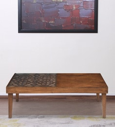 Lattice Center Table With Carved Top In Cherry Finish