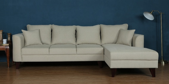 Lara Lhs Three Seater Sofa With Lounger And Cushions In Beige Colour