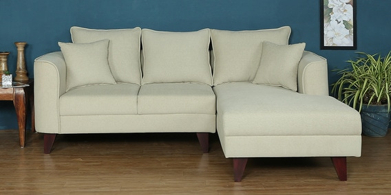 Lara LHS Two Seater Sofa With Lounger And Cushions In Beige Colour