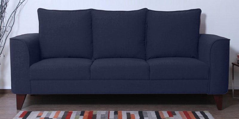 Lara Three Seater Sofa in Navy Blue Colour by CasaCraft
