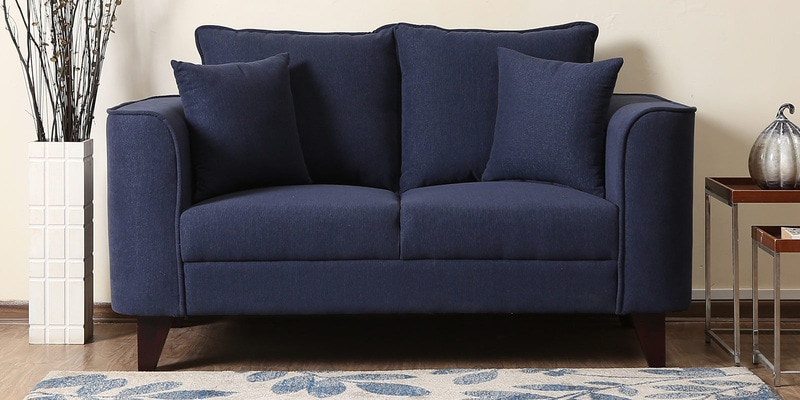 Lara Two Seater Sofa in Navy Blue Colour by CasaCraft